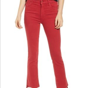 Mother Insider Crop Step Fray red jeans sz 29